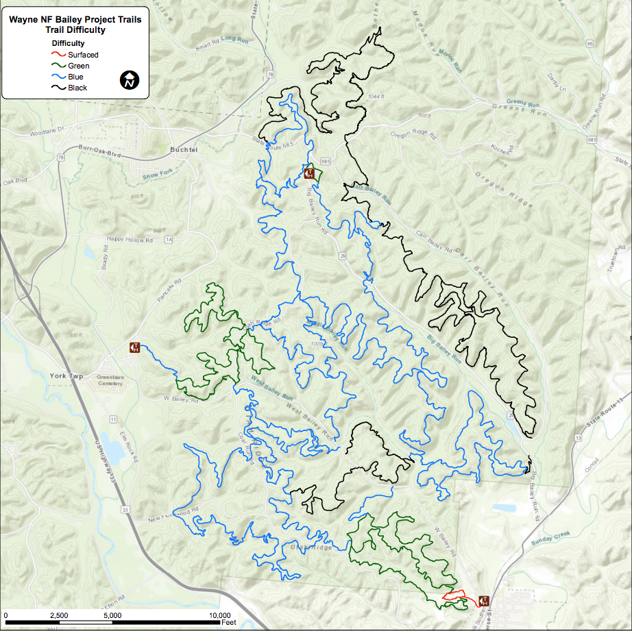 Baileys Trail system map