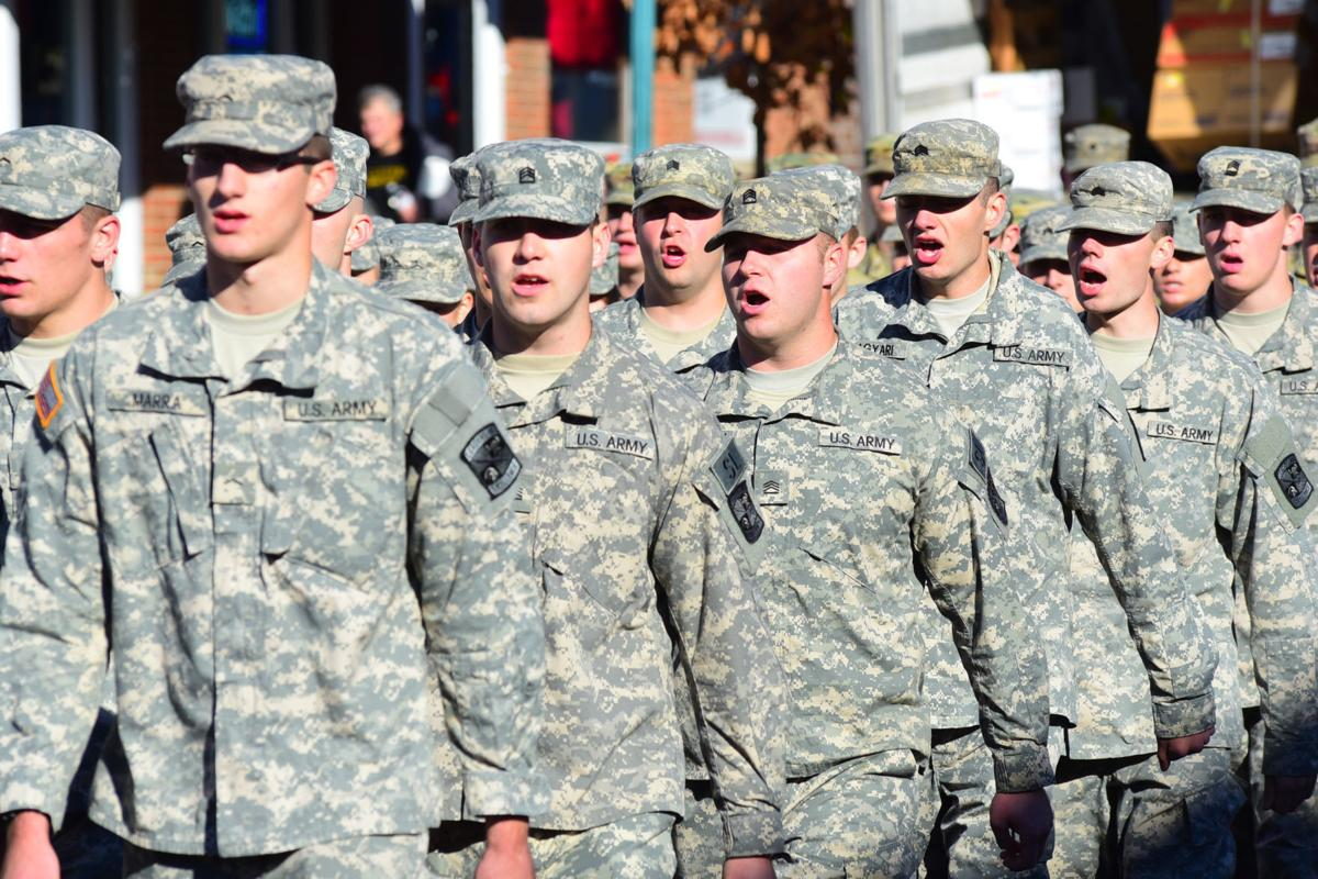 ohio universitys army rotc marches down court street in 2016