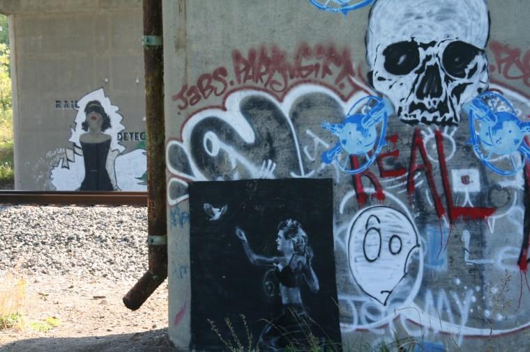 Bike path graffiti