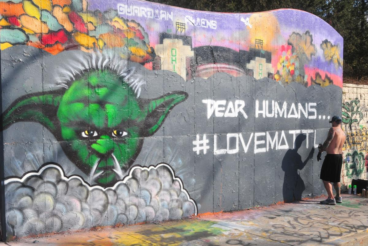 Graffiti wall reading - On Thursday Artist Jerod Black Took To The Graffiti Wall To Spread A Message Of Love After A Black Lives Matter Mural Was Defaced On The Wall On Wednesday