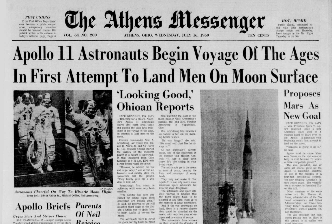 Athens Messenger moon launch