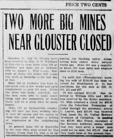 Big Mines near Glouster Closed