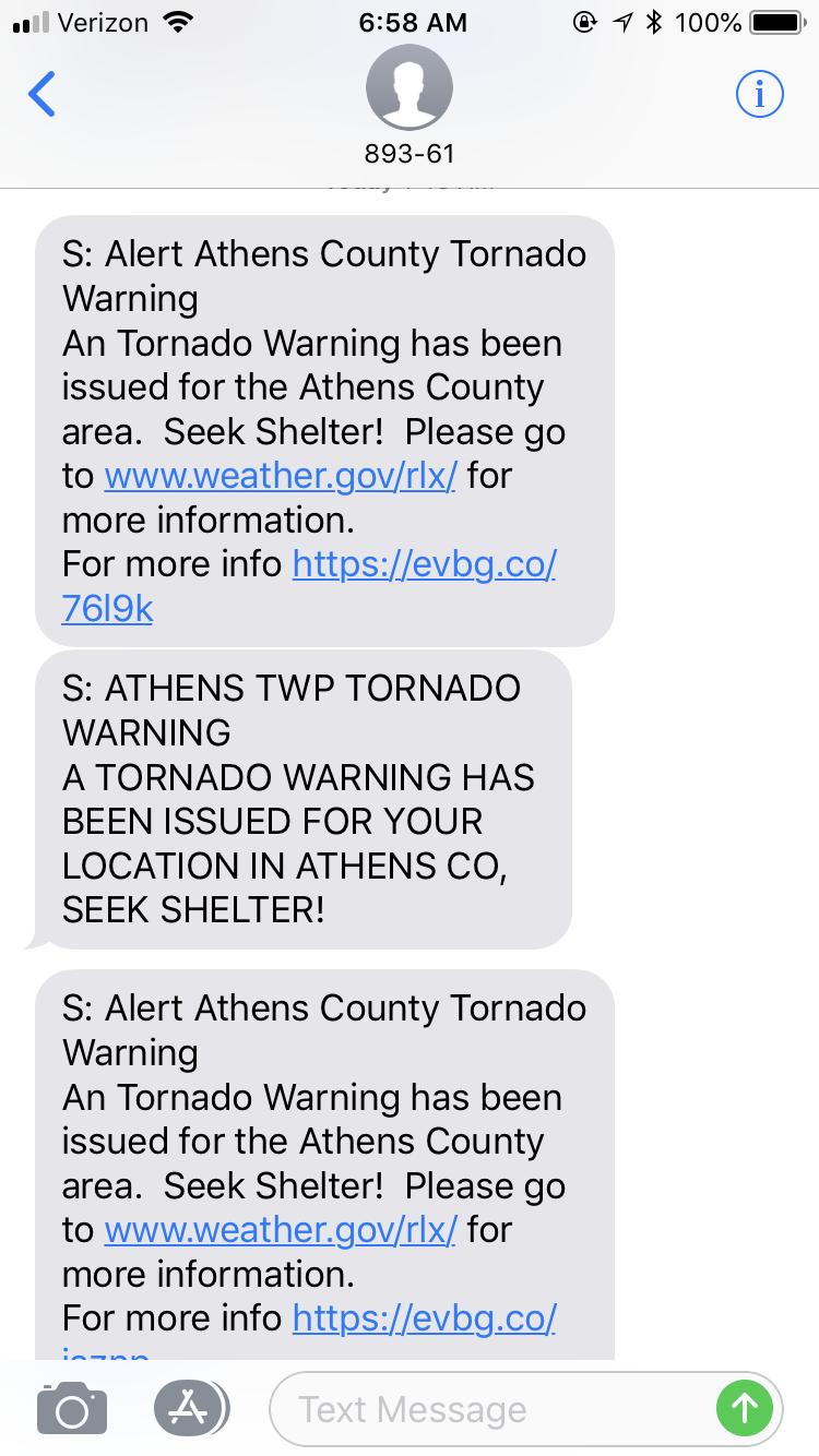 tornado warning - phone