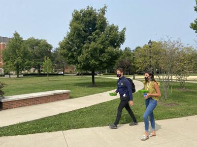 Students on campus amid pandemic