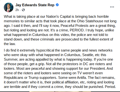 Screenshot of Jay Edwards Facebook post