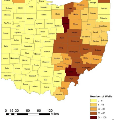 radon and fracking map