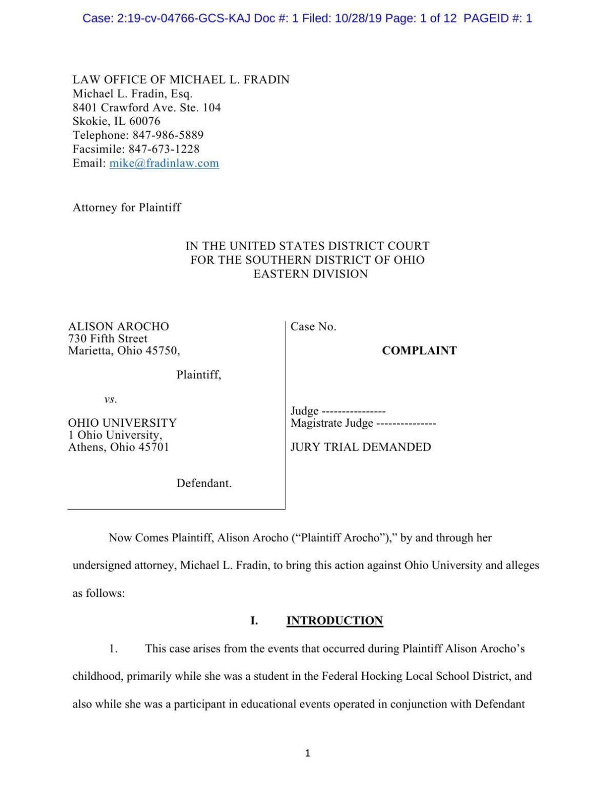 Complaint filed in federal court