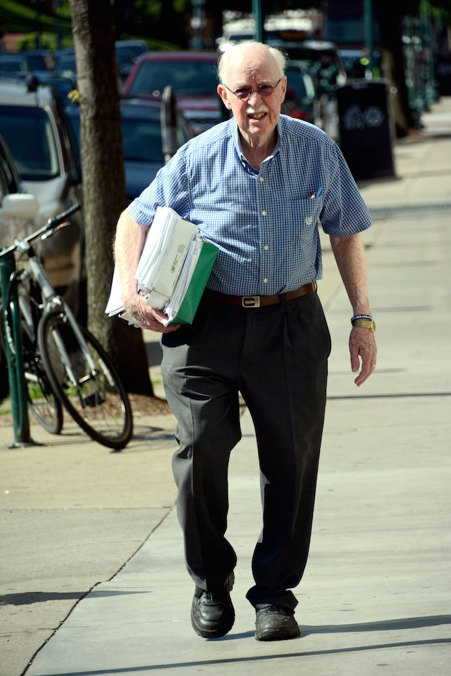 Dick McGinn with petitions