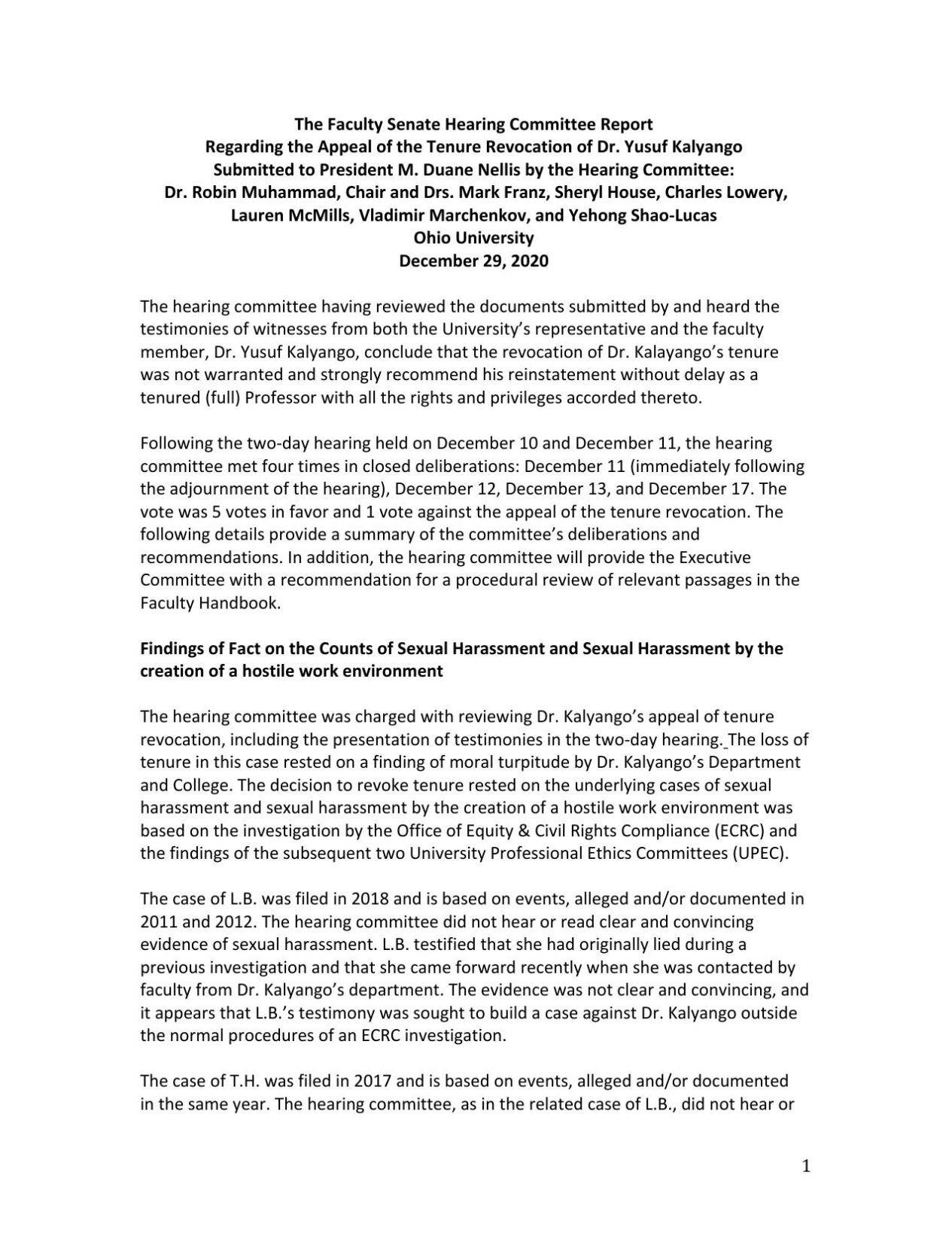 Faculty Senate Report Regarding Kalyango Tenure Revocation Appeal