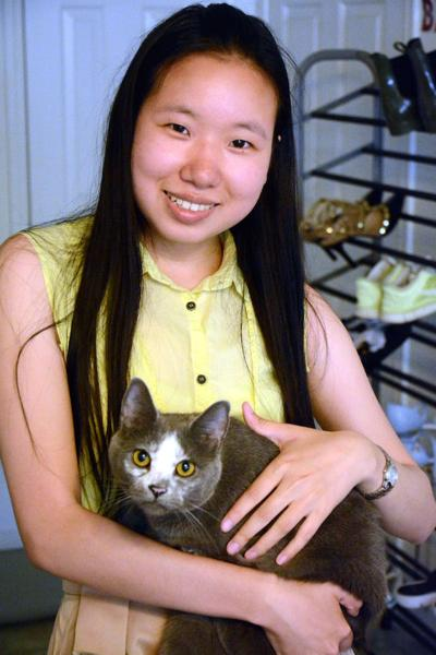 Student and cat