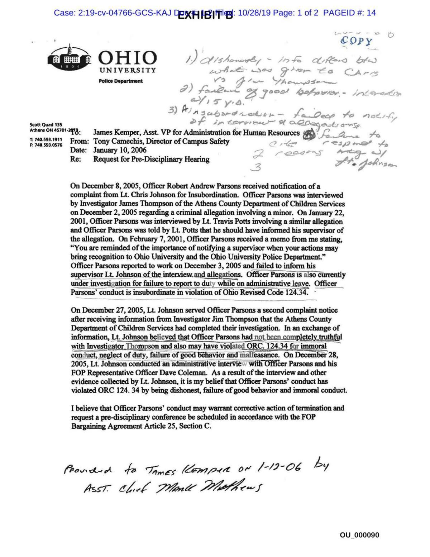 Exhibit - letter discussing past investigation of Parsons