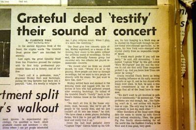 Grateful Dead newspaper clip