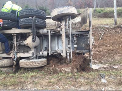 overturned fracking truck