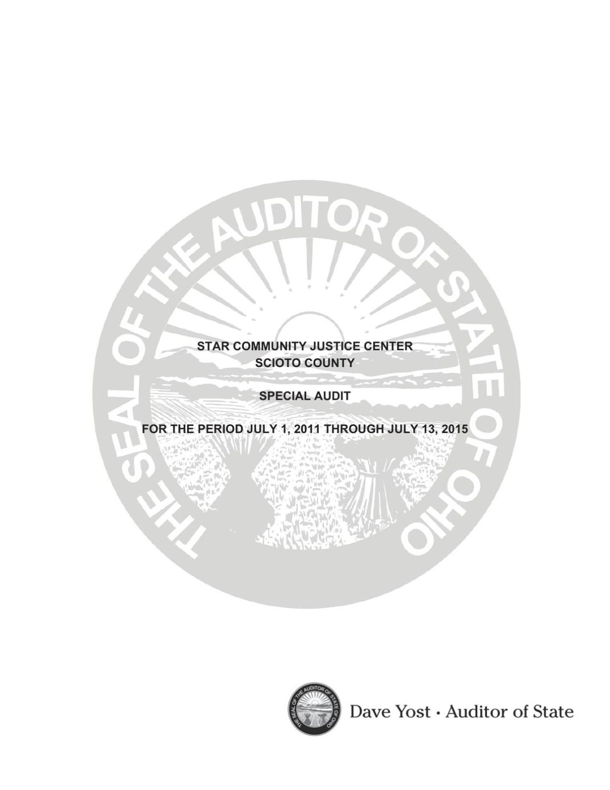 A copy of the special audit report into STAR Community Justice Center
