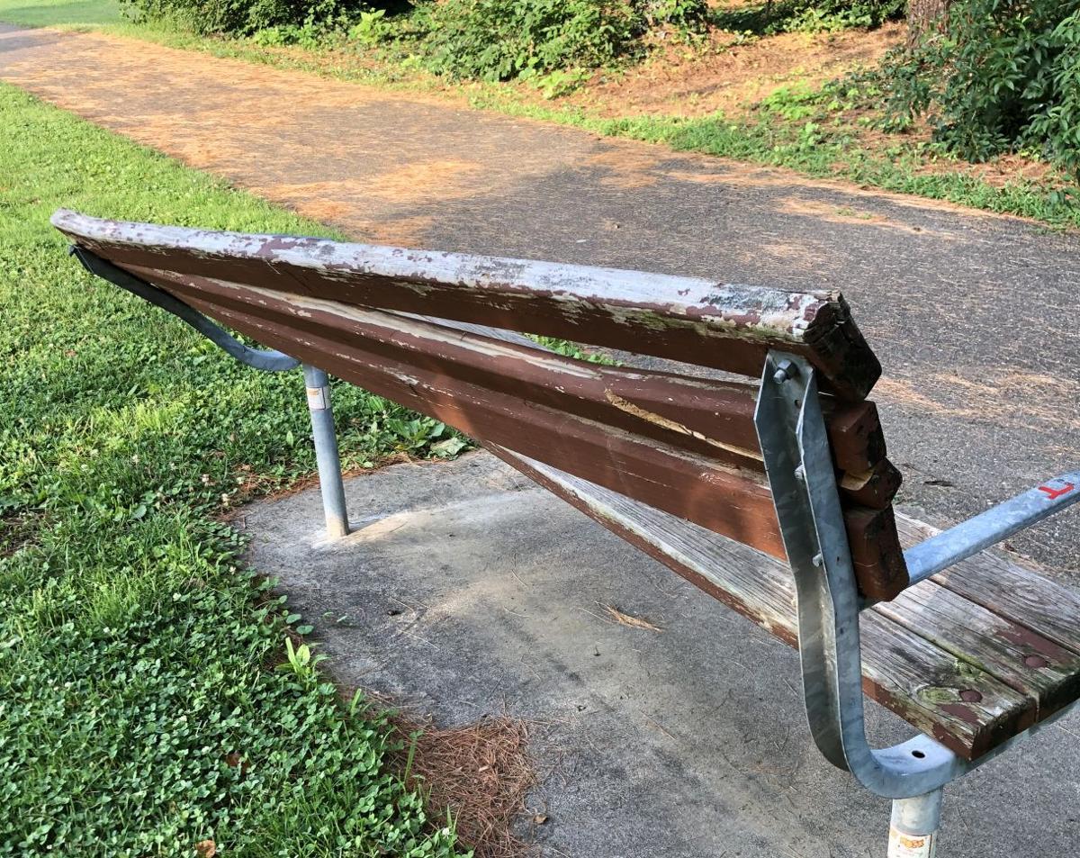 athens news bench damaged