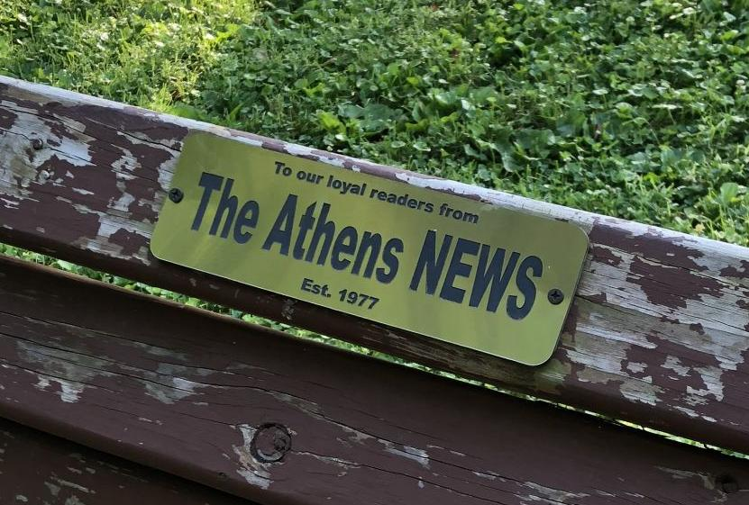 athens news bench - name plate