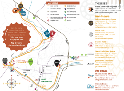 Bikes and Brews map