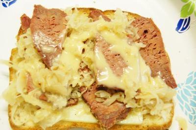 Corned venison reuben sandwich