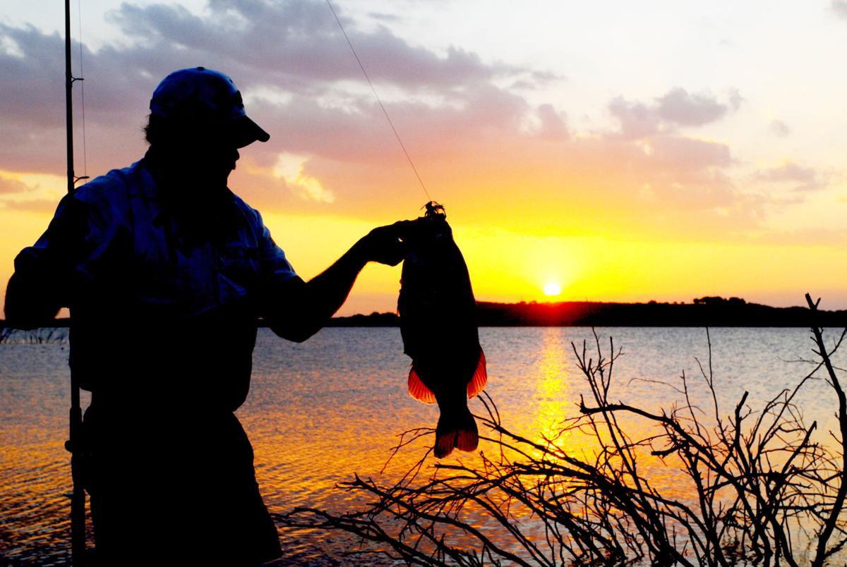 Texas bass fishing sunset