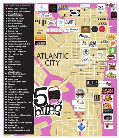 2019 50 Bites Map - Atlantic City Restaurants