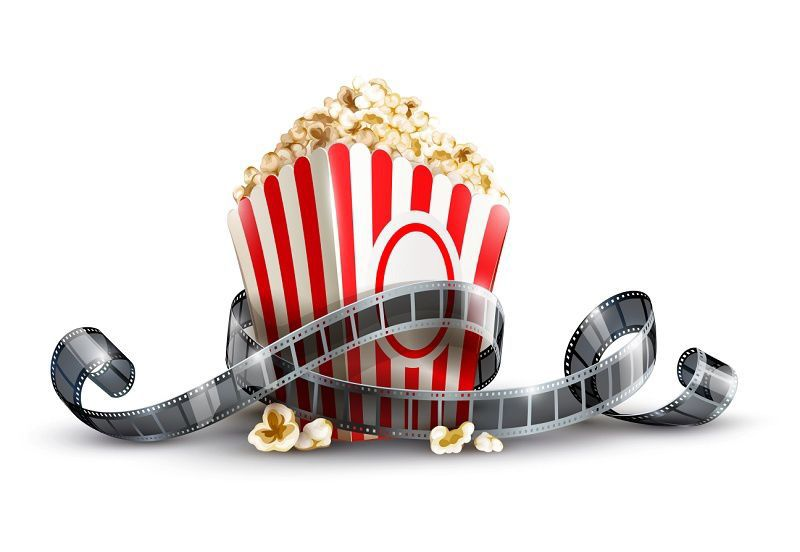 Movie reel with popcorn