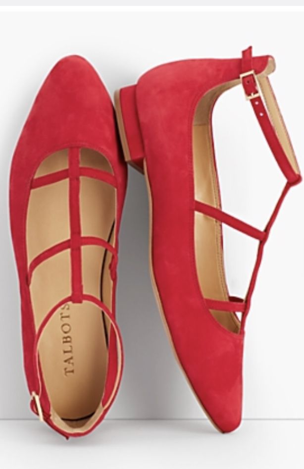 Talbots red strappy flats