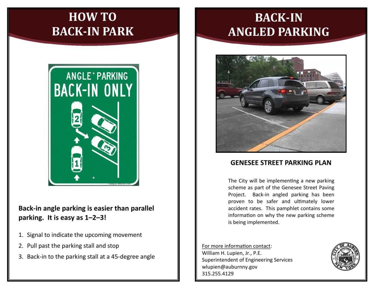 Auburn back-in parking pamphlet