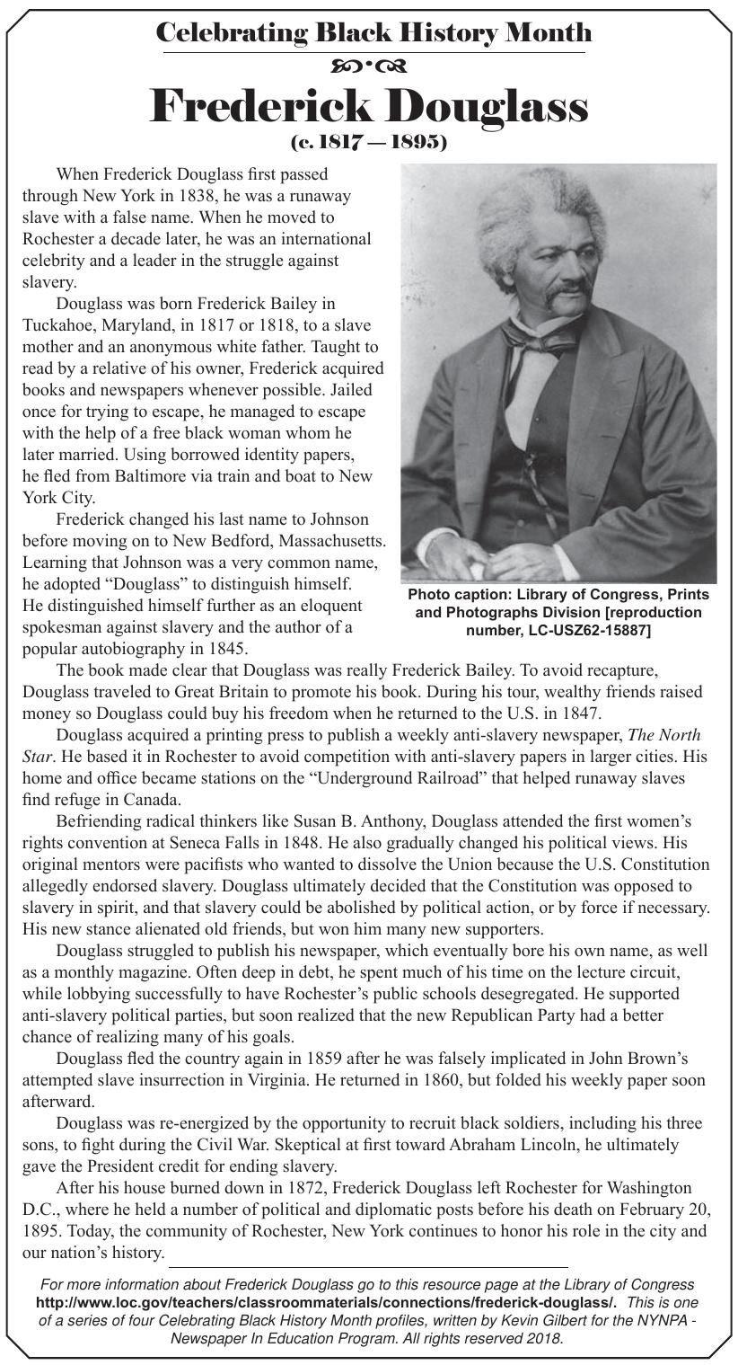 Black History Month profile: Frederick Douglass