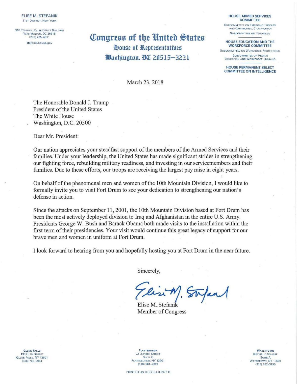 Stefanik invites Trump to Fort Drum