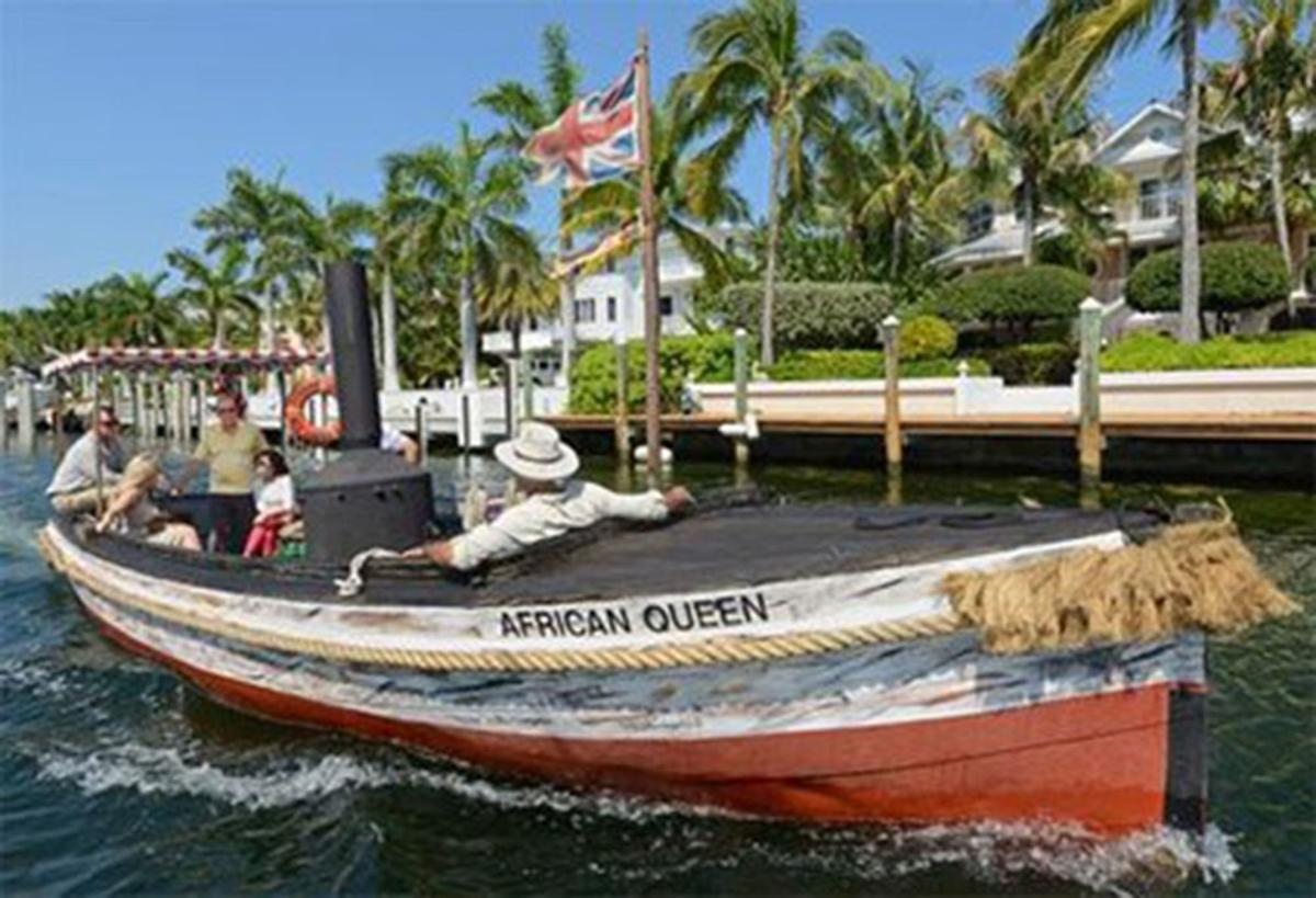 Take a ride on the African Queen, the boat used in the 1951 movie starring Humphrey Bogart and Katharine Hepburn.