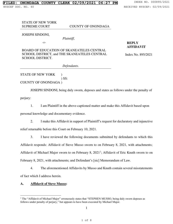 Sindoni reply affidavit