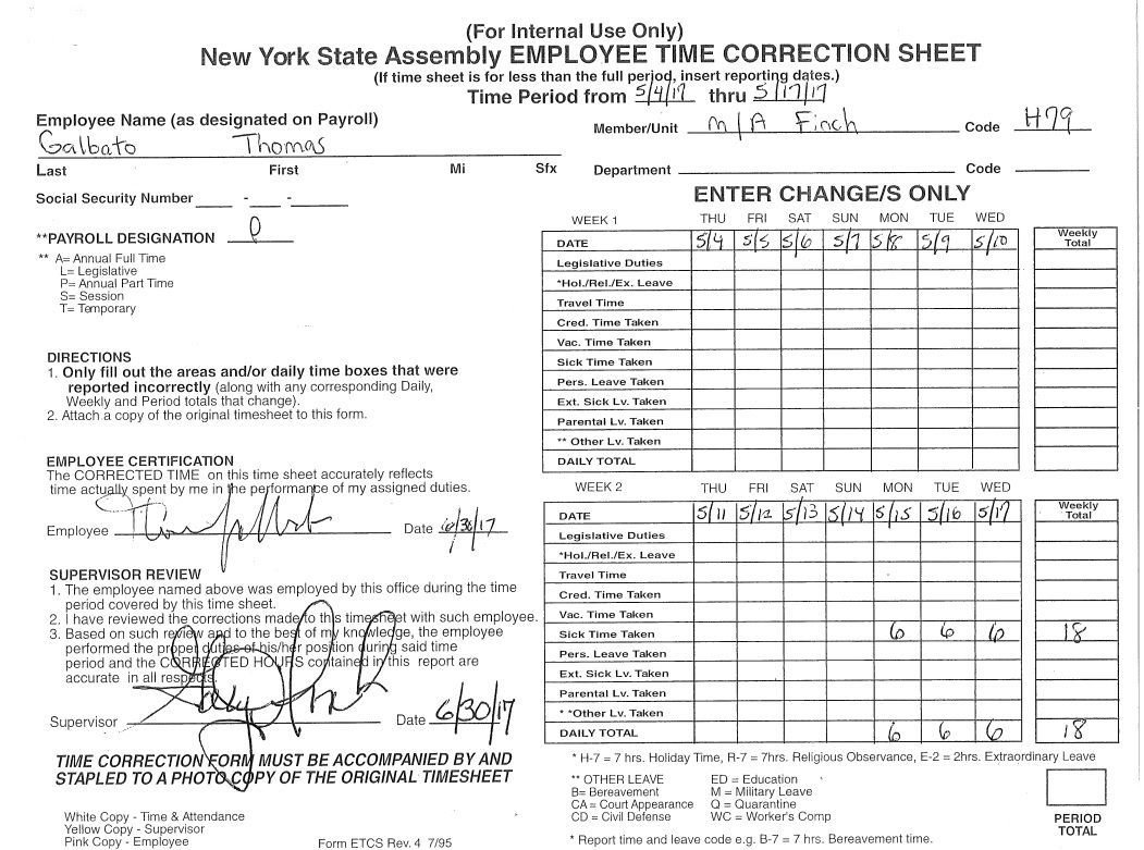 owasco businessman corrects time sheet takes june off from job with