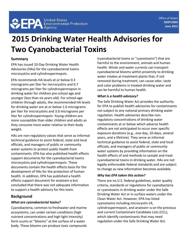 EPA: 2015 Drinking Water Health Advisories for Two Cyanobacterial Toxins