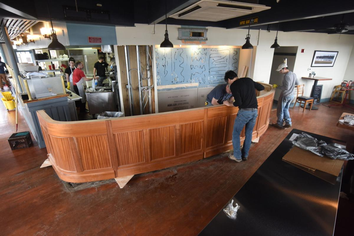 39 a lot of skill 39 marietta 39 s daniel j terino cabinet makers constructs bar for blue water grill - Blue water bar and grill ...