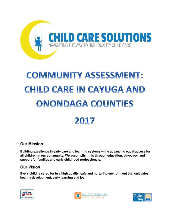 Community Assessment: Child Care in Cayuga and Onondaga