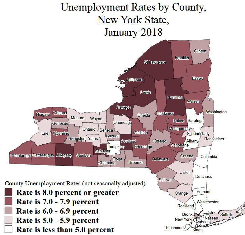 County unemployment rates: January 2018