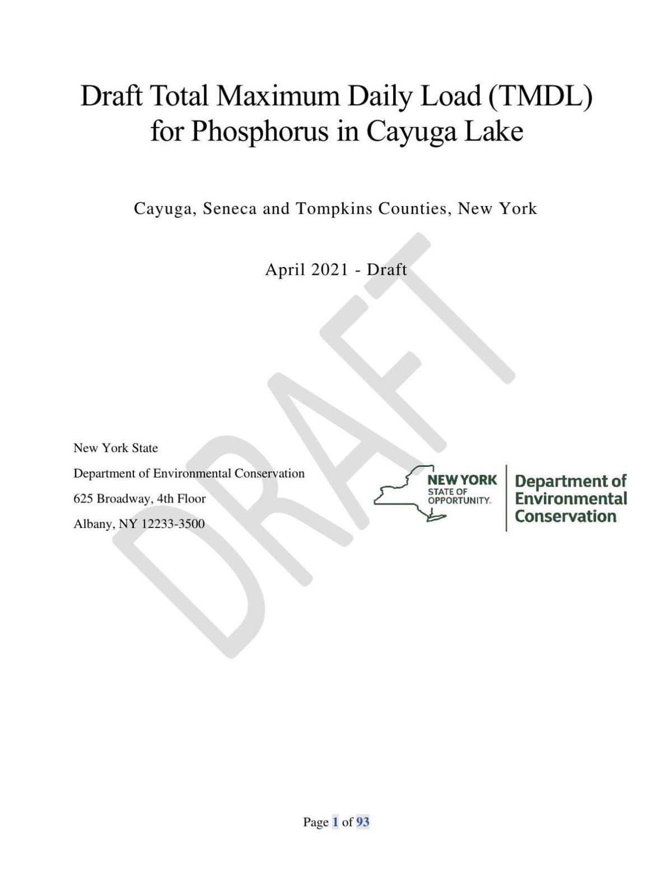 Cayuga Lake TMDL draft