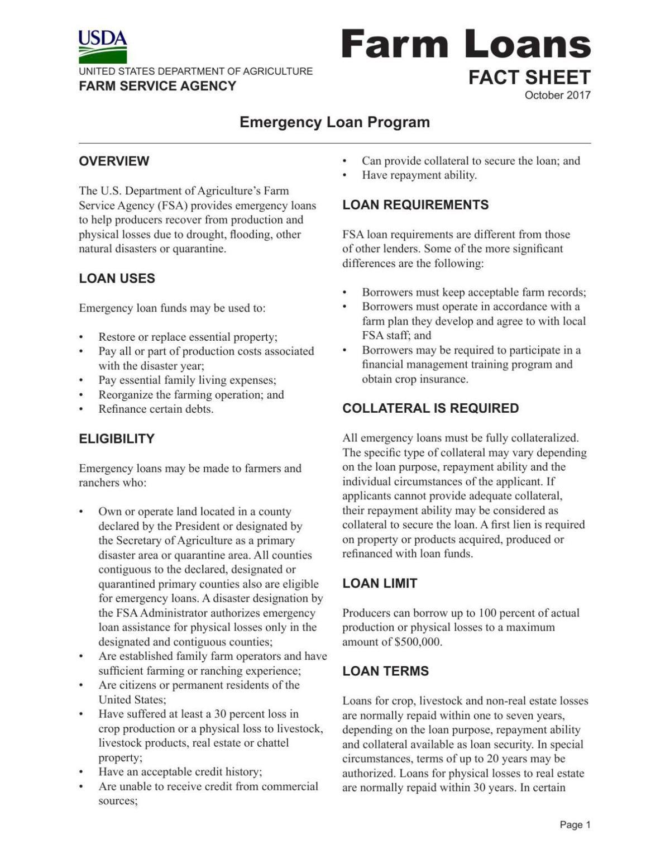 Farm Service Agency Emergency Loan Program Fact Sheet