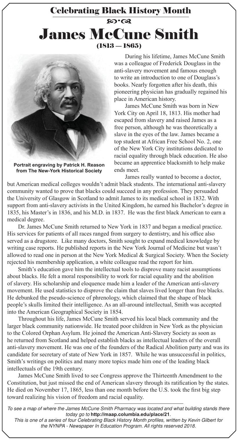 Black History Month profile: James McCune Smith