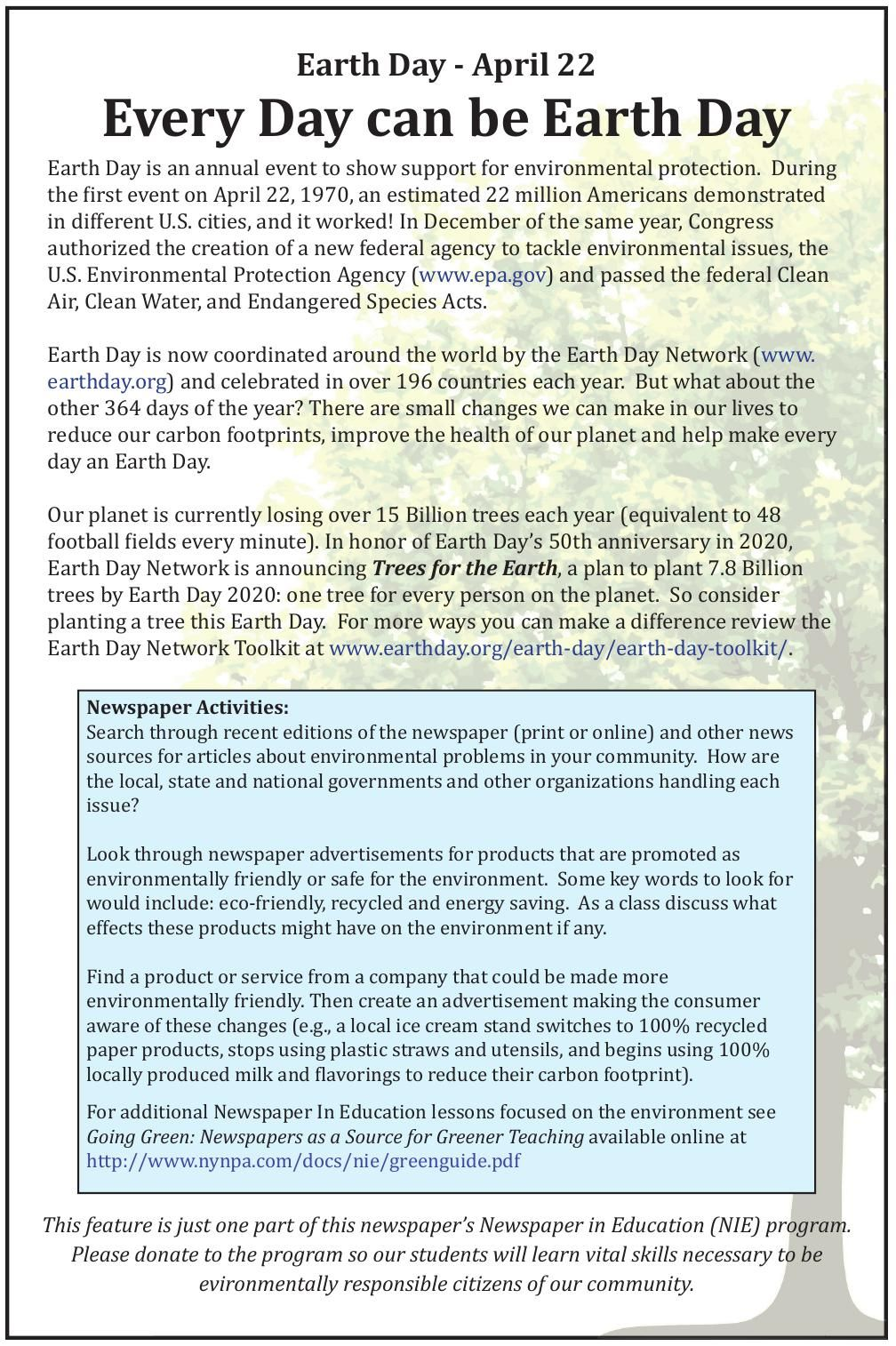 Nie Blog Earth Day 2016 Newspapers In Education Auburnpub Com