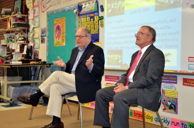 DeFrancisco, Finch visit State Street Intermediate School classroom to talk about the wood frog