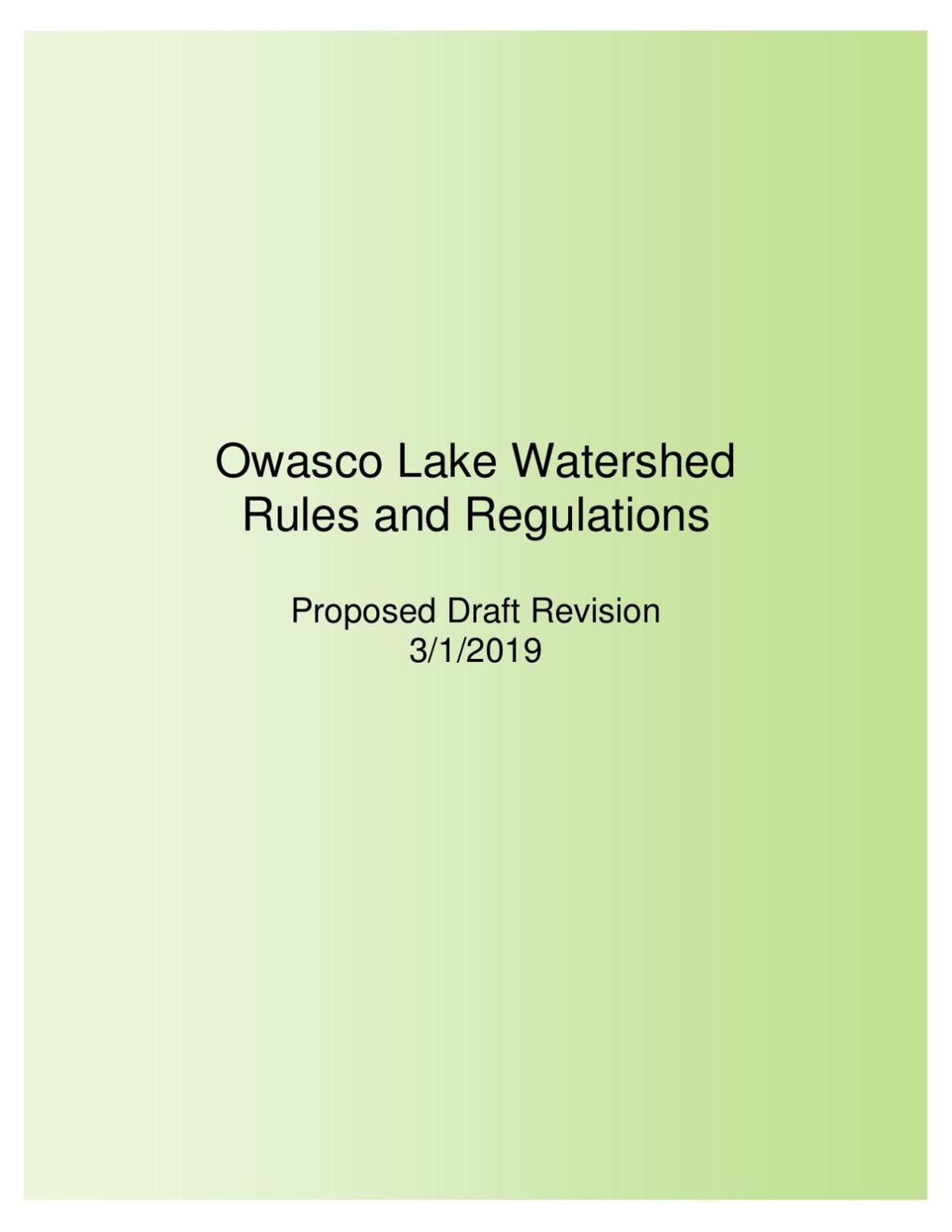 Owasco Lake Watershed Rules and Regulations