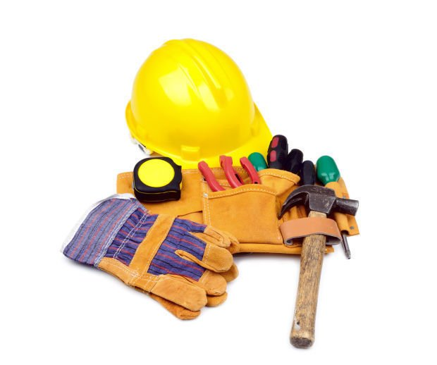 Tool belt with hardhat and gloves