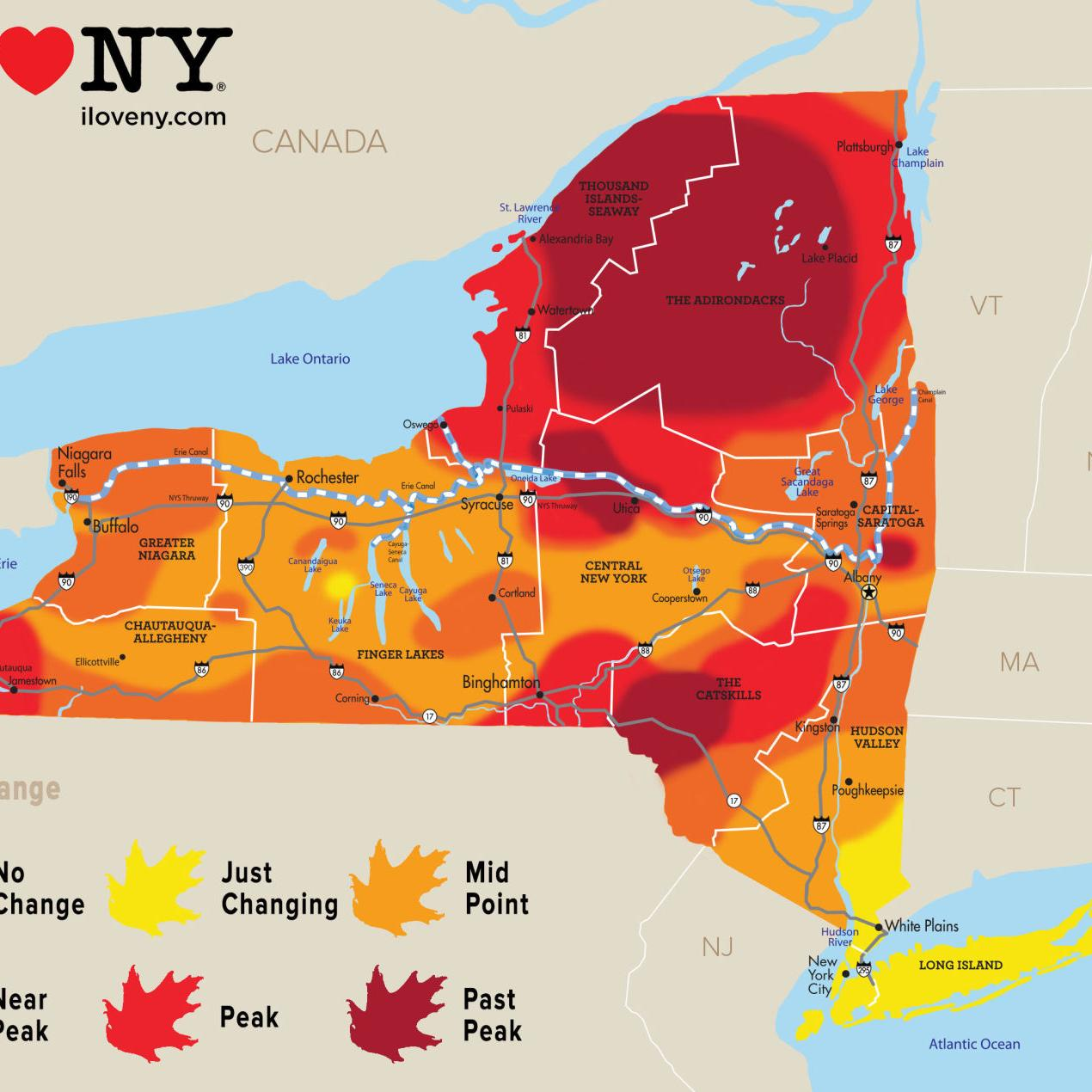 Foliage Map New York 2017.New York State Fall Foliage Report For Week Of Oct 17