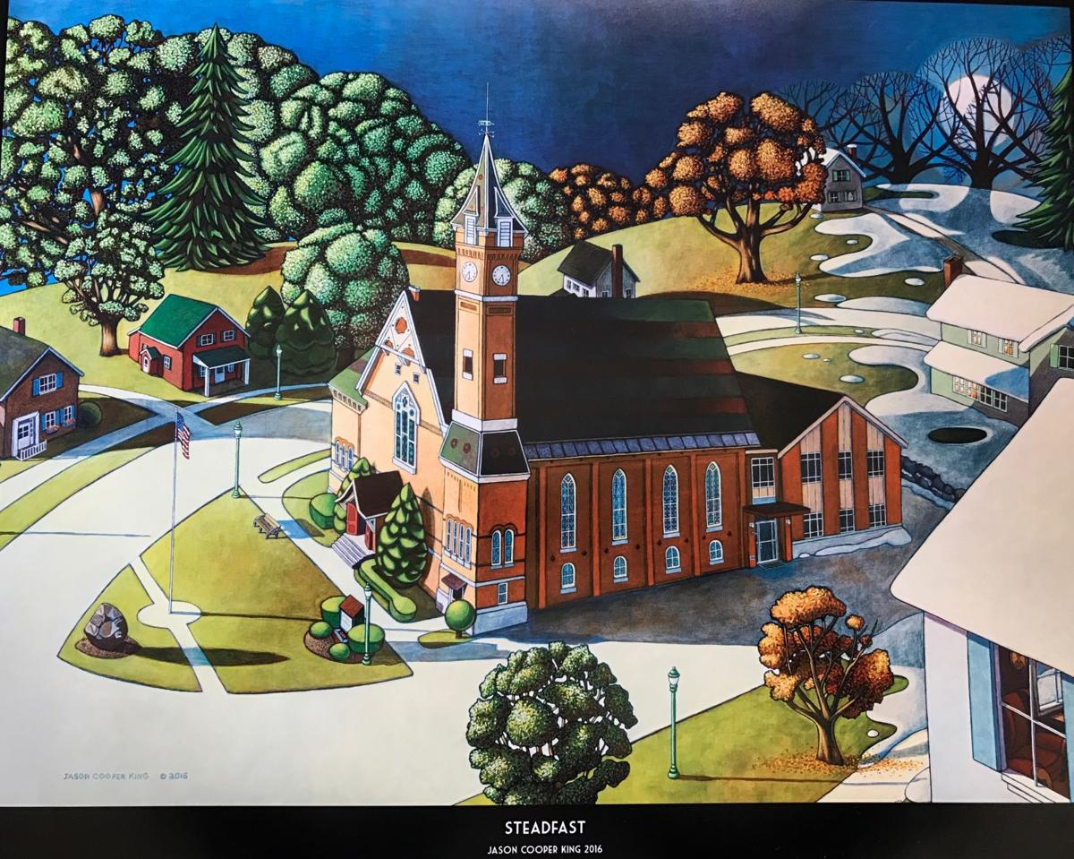 Modern folk artist to sell prints of Marcellus church in four seasons at Olde Home Days