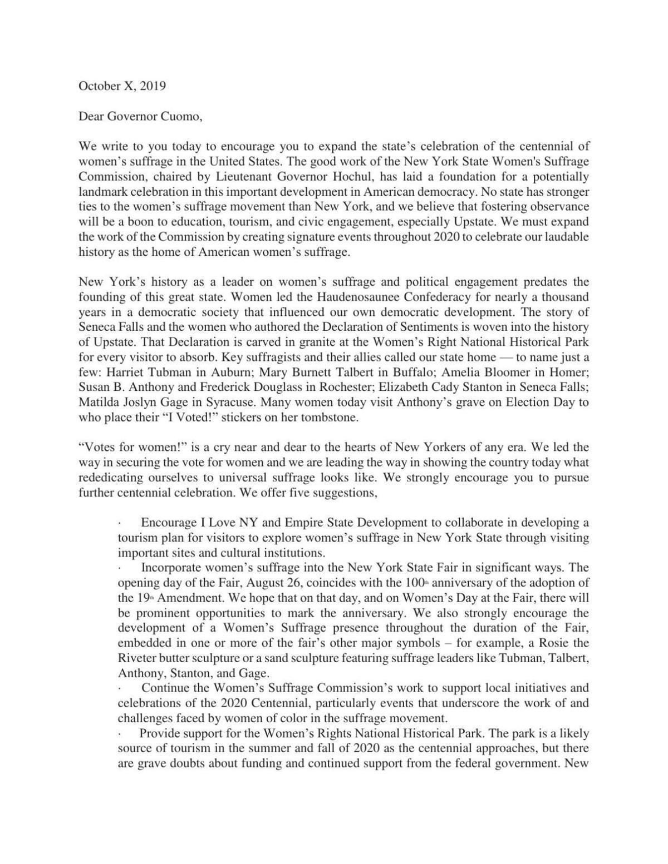 Women's Suffrage Centennial letter