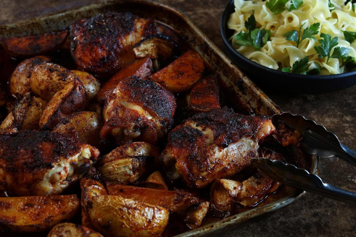 Using a sheet pan to make chicken paprikash updates the dish's flavor and makes clean-up a snap.