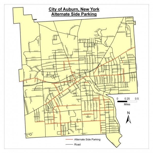 Police Chief Releases Map Of Auburn Streets Where Alternateside - Nyc alternate side parking map