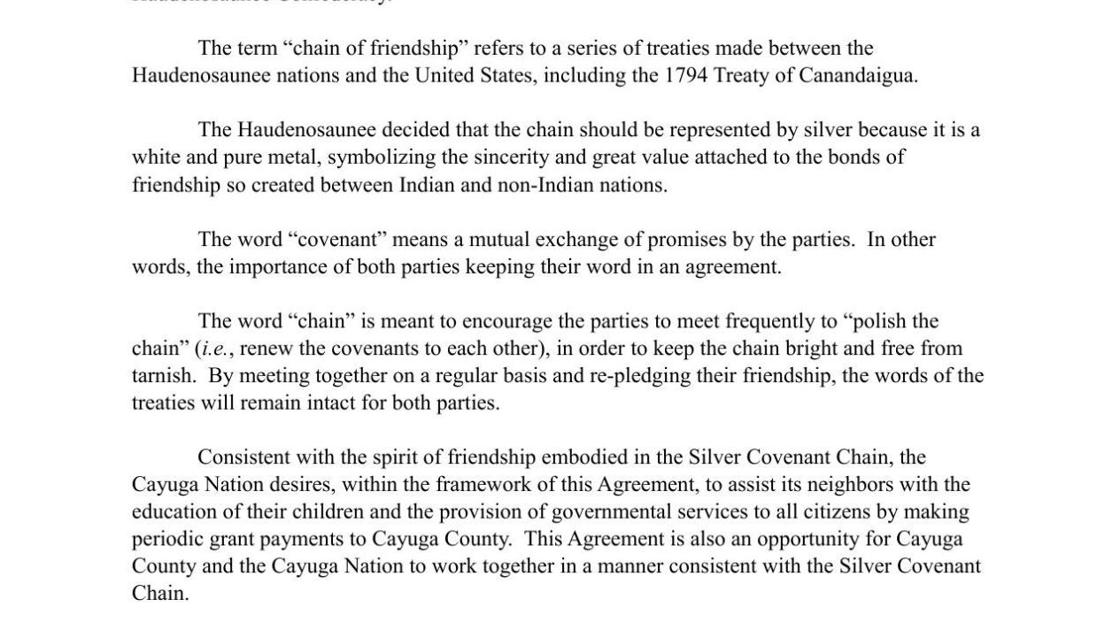 Cooperation Agreement Between Cayuga County And The Cayuga Nation Of