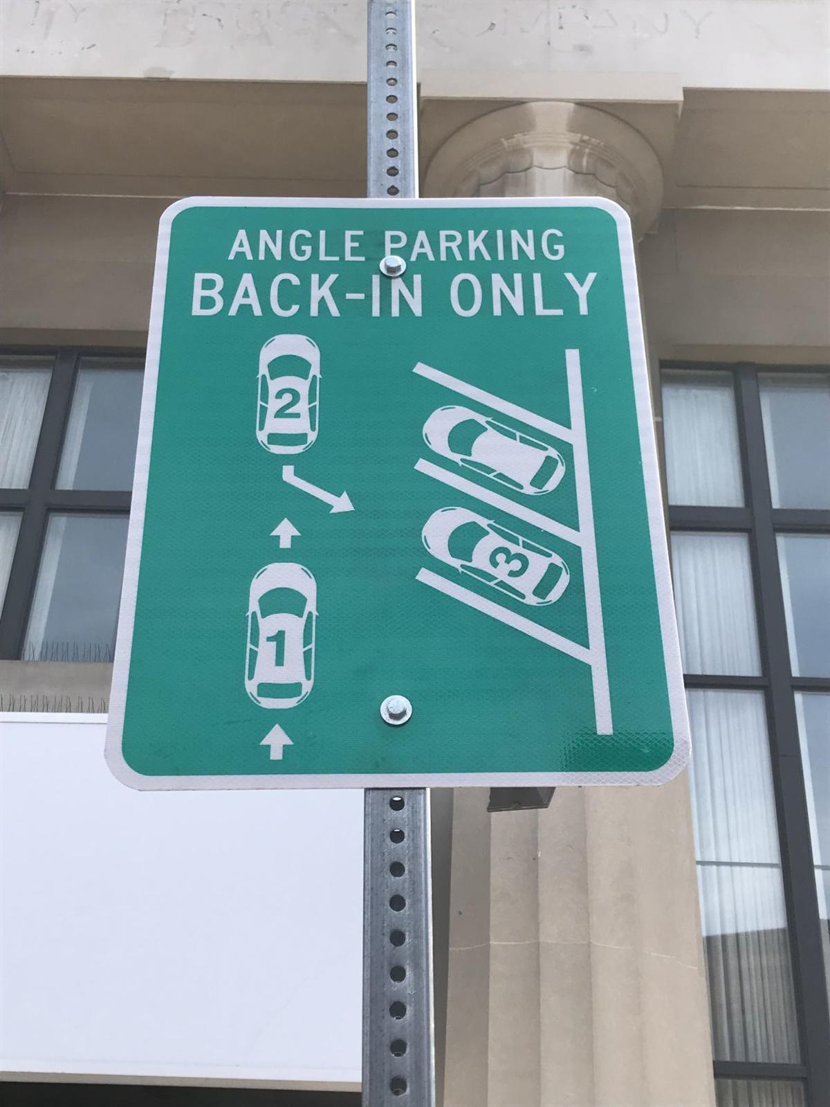 Back-in parking sign